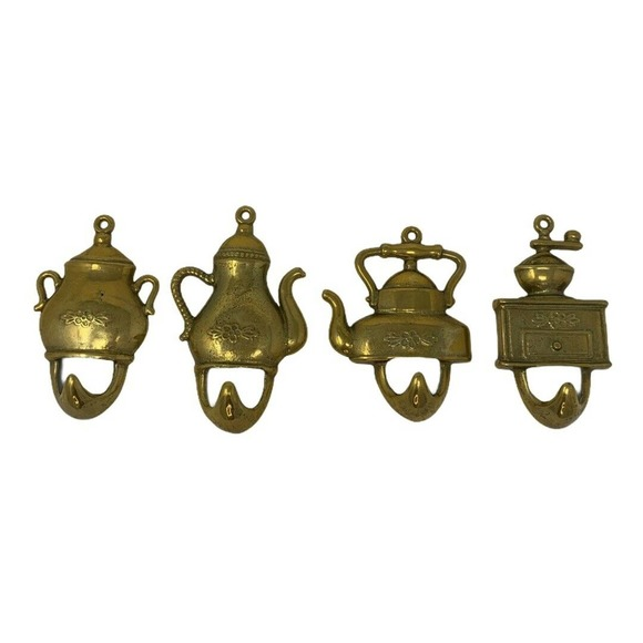 Set of 4 Brass~Towel Hooks~Vintage~Made in Italy
